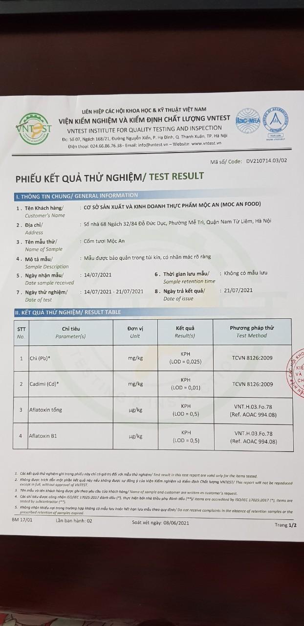 Kết quả Kiểm tra mẫu
