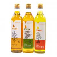 Combo 3 chai Dầu (mè, đậu phộng, đậu nành) nguyên chất 100% Puro 500ml